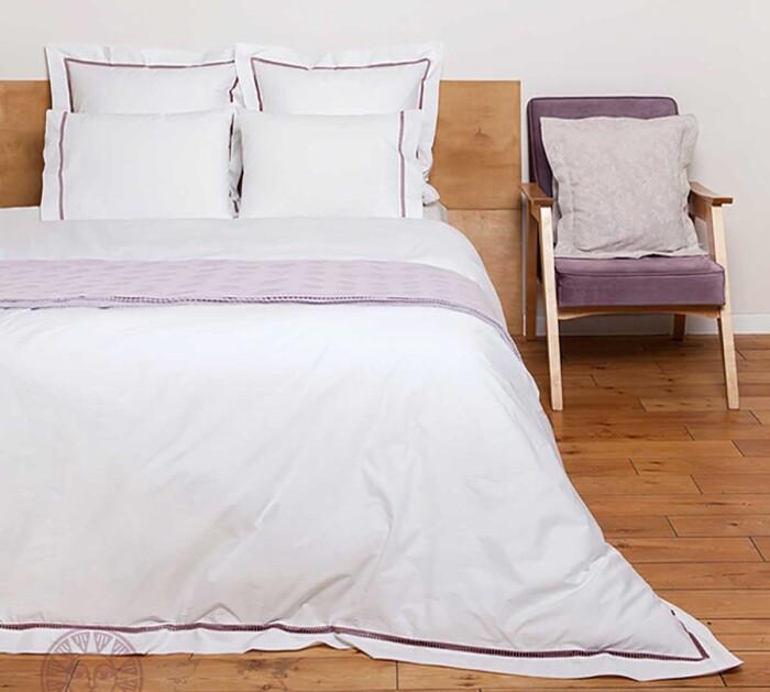 Постельное белье перкаль «SAN MARCO» (белый-лавандовый). 100% хлопок. «Luxberry» («Люксберри»), Португалия