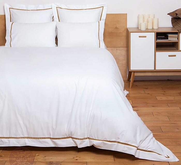 Постельное белье перкаль «SAN MARCO» (белый-золотой). 100% хлопок. «Luxberry» («Люксберри»), Португалия