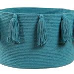 Корзина с кистями бирюзовая-1 Хлопковая декоративная корзина 100 хлопок. Lorena Canals , Испания