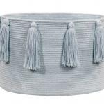Корзина с кистями голубая-1 Хлопковая декоративная корзина 100 хлопок. Lorena Canals , Испания
