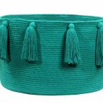 Корзина с кистями изумрудная-1 Хлопковая декоративная корзина 100 хлопок. Lorena Canals , Испания