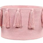 Корзина с кистями розовая-1 Хлопковая декоративная корзина 100 хлопок. Lorena Canals , Испания