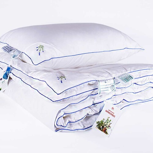 «Лаванда Антистресс». Всесезонное стеганое одеяло антистресс. Наполнитель бамбуковое волокно. Ткань 100% хлопок. Производитель «NATURE'S» («Натурес»), Россия