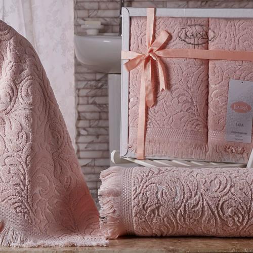 Комплект махровых полотенец KARNA ESRA (Абрикосовый) 50x90-70х140 см. Состав 100% хлопок. Производство ТМ «Karna» (Карна), Турция