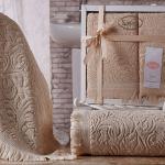 Комплект махровых полотенец KARNA ESRA (Бежевый) 50x90-70х140 см. Состав 100% хлопок. Производство ТМ «Karna» (Карна), Турция