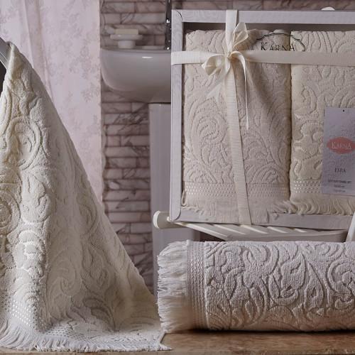 Комплект махровых полотенец KARNA ESRA (Кремовый) 50x90-70х140 см. Состав 100% хлопок. Производство ТМ «Karna» (Карна), Турция