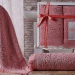 Комплект махровых полотенец KARNA ESRA (Розовый) 50x90-70х140 см. Состав 100% хлопок. Производство ТМ «Karna» (Карна), Турция