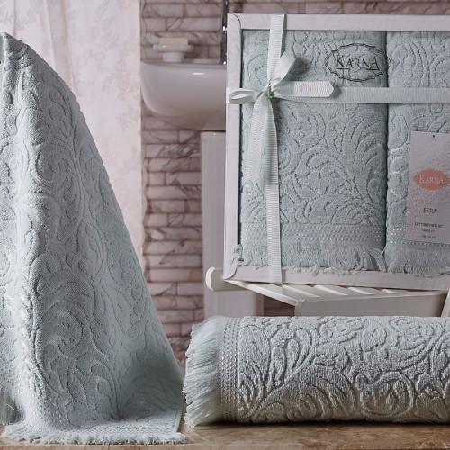 Комплект махровых полотенец KARNA ESRA (Светло-Зеленый) 50x90-70х140 см. Состав 100% хлопок. Производство ТМ «Karna» (Карна), Турция