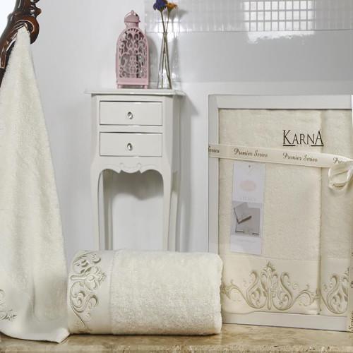 Комплект махровых полотенец KARNA VELSEN (Кремовый) 50x90-70х140 см. Состав 100% хлопок. Производство ТМ «Karna» (Карна), Турция