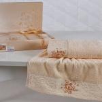 Комплект махровых полотенец KARNA VIOLA (Абрикосовый) 50x90-70х140 см. Состав 100% хлопок. Производство ТМ «Karna» (Карна), Турция