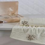 Комплект махровых полотенец KARNA VIOLA (Кремовый) 50x90-70х140 см. Состав 100% хлопок. Производство ТМ «Karna» (Карна), Турция