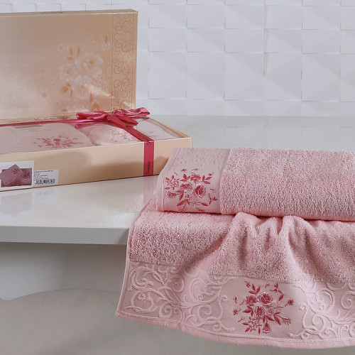 Комплект махровых полотенец KARNA VIOLA (Светло-Розовый) 50x90-70х140 см. Состав 100% хлопок. Производство ТМ «Karna» (Карна), Турция
