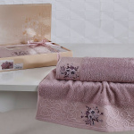 Комплект махровых полотенец KARNA VIOLA (Светло-Сиреневый) 50x90-70х140 см. Состав 100% хлопок. Производство ТМ «Karna» (Карна), Турция
