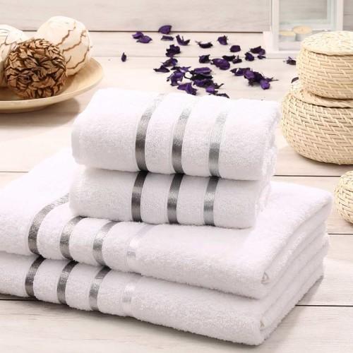 Комплект махровых полотенец KARNA BALE (Белый) 50x80 см (2шт) -70х140 (2 шт). Состав 100% хлопок. Производство ТМ «Karna» (Карна), Турция