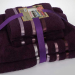 Комплект махровых полотенец KARNA BALE (Фиолетовый) 50x80 см (2шт) -70х140 (2 шт). Состав 100% хлопок. Производство ТМ «Karna» (Карна), Турция