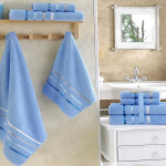 Комплект махровых полотенец KARNA BALE (Голубой) 50x80 см (2шт) -70х140 (2 шт). Состав 100% хлопок. Производство ТМ «Karna» (Карна), Турция