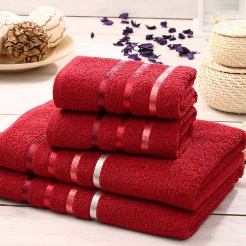 Комплект махровых полотенец KARNA BALE (Красный) 50x80 см (2шт) -70х140 (2 шт). Состав 100% хлопок. Производство ТМ «Karna» (Карна), Турция