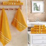 Комплект махровых полотенец KARNA BALE (Темно-Желтый) 50x80 см (2шт) -70х140 (2 шт). Состав 100% хлопок. Производство ТМ «Karna» (Карна), Турция
