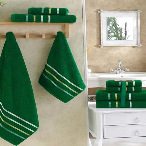 Комплект махровых полотенец KARNA BALE (Темно-Зеленый) 50x80 см (2шт) -70х140 (2 шт). Состав 100% хлопок. Производство ТМ «Karna» (Карна), Турция