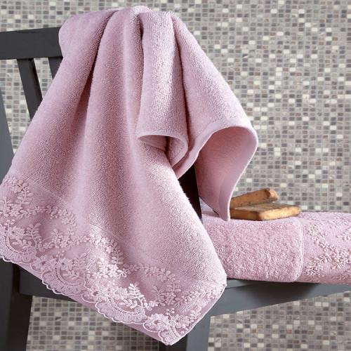Комплект махровых полотенец KARNA ELINDA (Пудра) 50x90-70х140 см. Состав 100% хлопок. Производство ТМ «Karna» (Карна), Турция