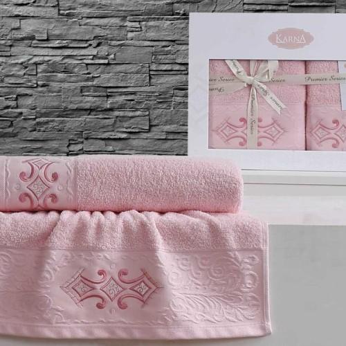Комплект махровых полотенец KARNA GALATA (Розовый) 50x90-70х140 см. Состав 100% хлопок. Производство ТМ «Karna» (Карна), Турция