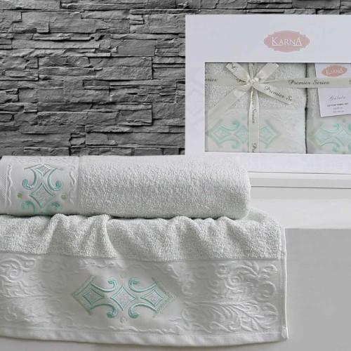 Комплект махровых полотенец KARNA GALATA (Светло-Зеленый) 50x90-70х140 см. Состав 100% хлопок. Производство ТМ «Karna» (Карна), Турция