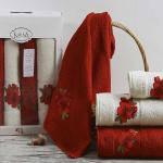 Комплект махровых полотенец KARNA ORKIDE (Бордовый) 50x90-70х140 см. Состав 100% хлопок. Производство ТМ «Karna» (Карна), Турция