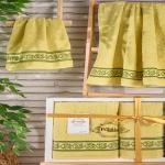 Комплект махровых полотенец PUPILA жаккард DREAM (Горчичный) 50x90-70х140 см. Состав 100% хлопок. Производство ТМ «PUPILA», Турция