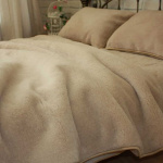 Одеяло Меринос Облако бежевое. Шерстяное тканое одеяло. 100% открытая шерсть мериноса. ТМ Magicwool (Монарх), Россия