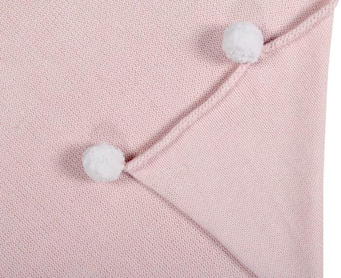 Детский плед хлопок «С помпонами розовый» 100х120см. Состав: 100% хлопок