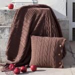 Плед вязаный Imperio 233 (коричневая замша) 100 хлопок. Производство Luxberry (Люксберри), Португалия