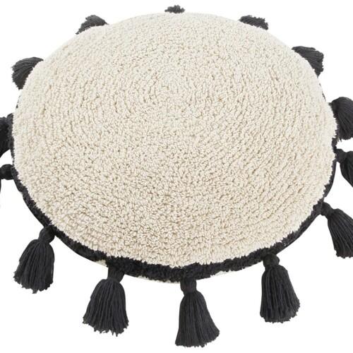 Подушка детская декоративная Бежевая с черными кисточками. 100 хлопок. Lorena Canals, Испания