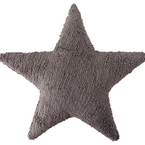 Подушка детская декоративная Звезда серая. 100 хлопок. Lorena Canals, Испания