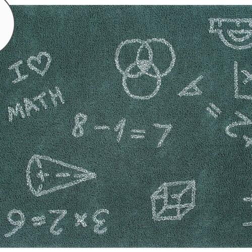 Детский стираемый ковер «Я люблю математику» зеленый. Состав 100% хлопок. Производитель ТМ «Lorena Canals» , Испания