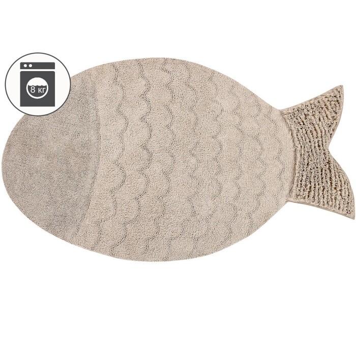 Детский стираемый ковер «Большая рыбка» бежевый. Состав: 100% хлопок.  Производитель: ТМ «Lorena Canals» , Испания