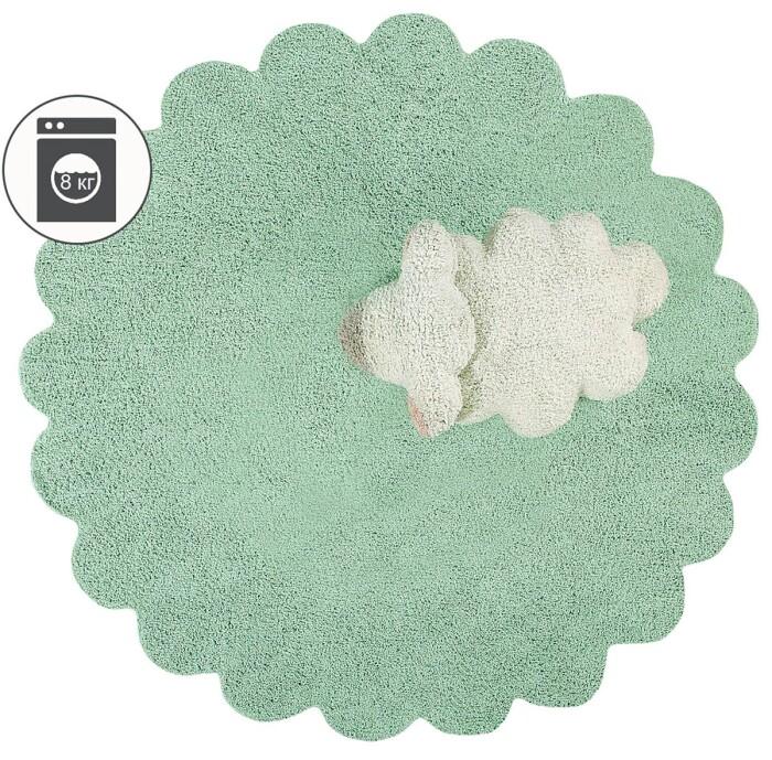 Детский стираемый ковер «Мягкая овечка» салатовый. Состав 100% хлопок.  Производитель ТМ «Lorena Canals» , Испания