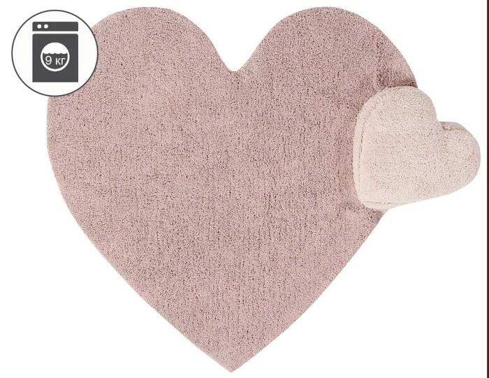 Детский стираемый ковер «Сердце с подушкой» розовый. Состав 100% хлопок.  Производитель ТМ «Lorena Canals» , Испания