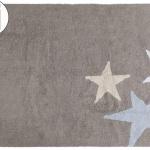 Детский стираемый ковер «Три звезды Three Stars» серые и голубые. Состав 100% хлопок. Производитель ТМ «Lorena Canals» , Испания