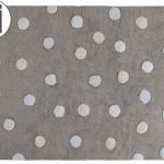 Детский стираемый ковер Tricolor Polka Dots» серый голубой. Состав 100% хлопок. Производитель ТМ «Lorena Canals» , Испания