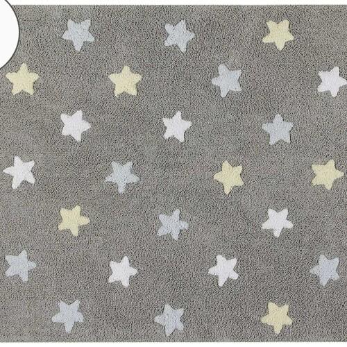 Детский стираемый ковер «Триколор Звезды Stars Tricolor» серо-голубой. Состав 100% хлопок. Производитель ТМ «Lorena Canals» , Испания