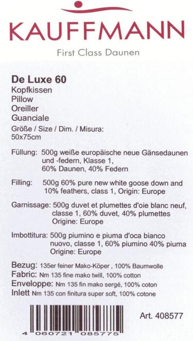 Подушка пуховая «De Luxe 60» белый гусиный пух, перо. Производитель ТМ Kauffmann (Кауфман), Германия