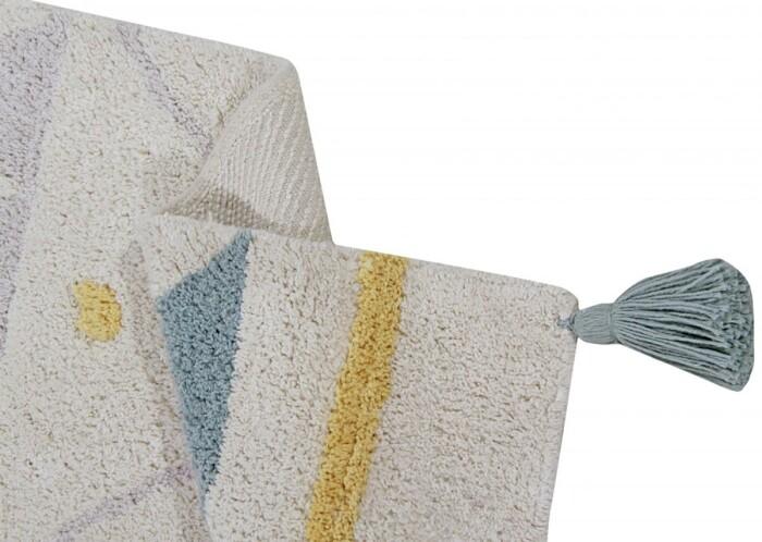 Детский стираемый ковер «Ацтекский Azteca Natura» винтажный голубой. Состав 100% хлопок.  Производитель ТМ «Lorena Canals» , Испания
