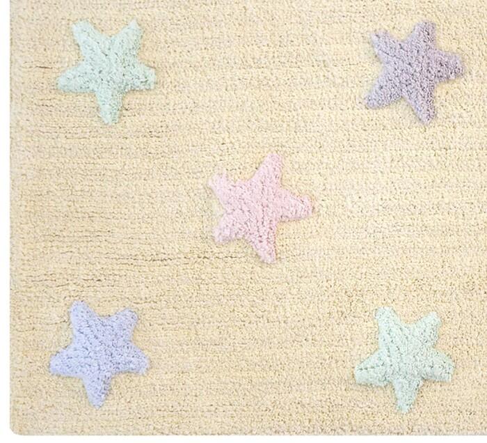 Детский стираемый ковер «Триколор Звезды Stars Tricolor» ванильный. Состав 100% хлопок.  Производитель ТМ «Lorena Canals» , Испания