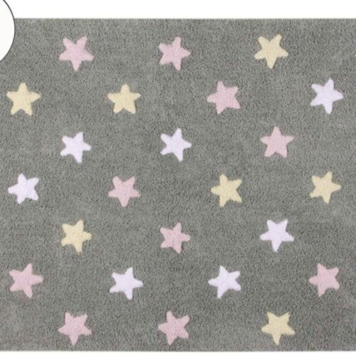 Детский стираемый ковер «Триколор Звезды Stars Tricolor» серый-розовый. Состав 100% хлопок. Производитель ТМ «Lorena Canals» , Испания