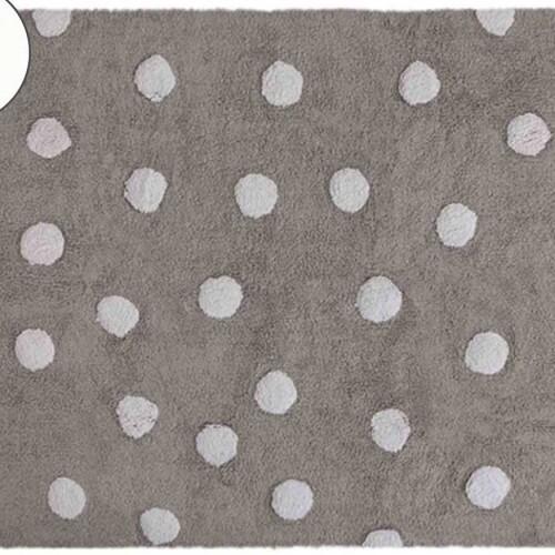 Детский стираемый ковер в горошек «Polka Dots» серый-белый. Состав 100% хлопок. Производитель ТМ «Lorena Canals» , Испания