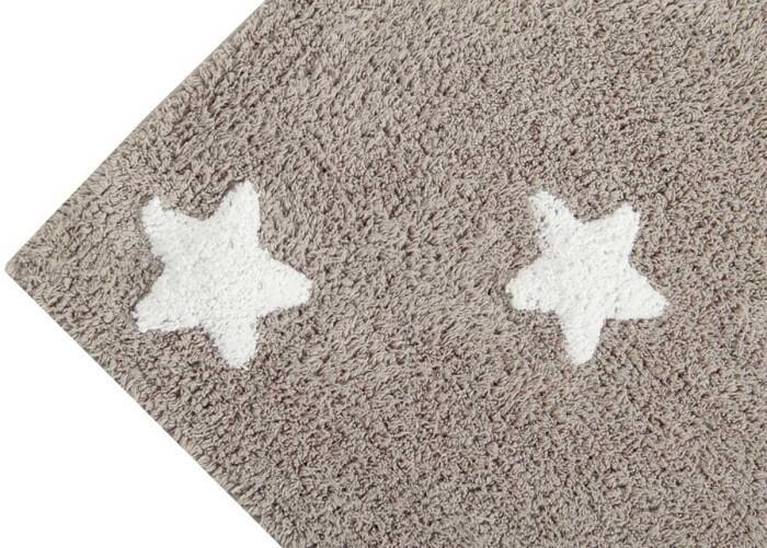 Детский стираемый ковер «Stars» бежевый с белым. Состав 100% хлопок.  Производитель ТМ «Lorena Canals» , Испания