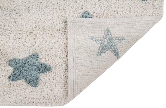 Детский стираемый ковер в горошек «Звезды» винтажный голубой. Состав 100% хлопок.  Производитель ТМ «Lorena Canals» , Испания