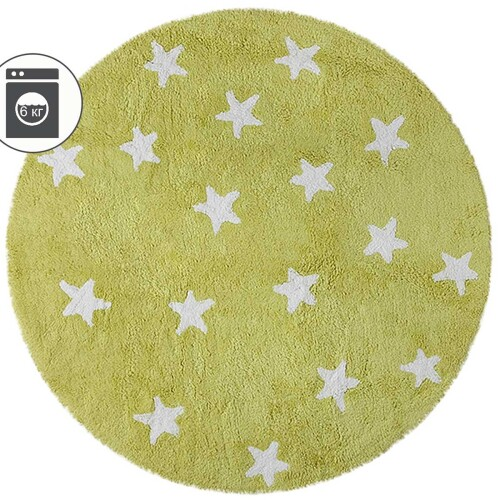 Детский стираемый ковер «Фисташковое небо» зеленый. Состав 100% хлопок. Производитель ТМ «Lorena Canals» , Испания
