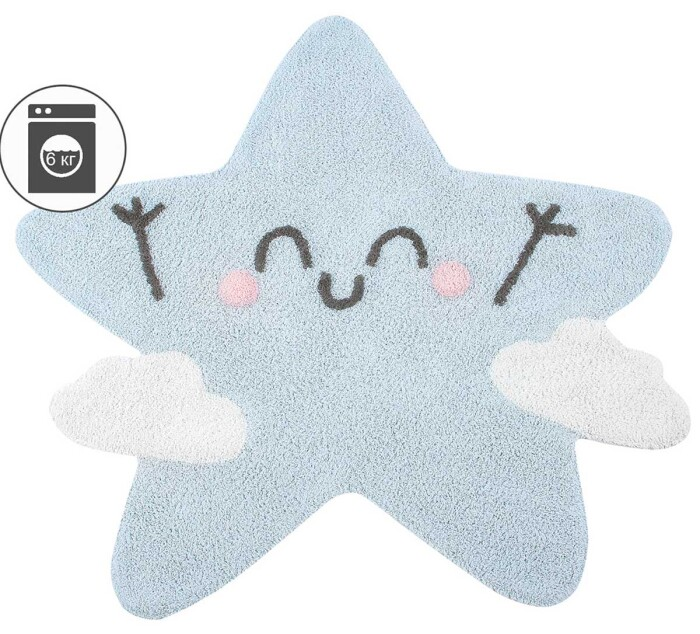 Детский стираемый ковер «Mr. Wonderful - Силуэт Счастливая звезда». Состав 100% хлопок.  Производитель ТМ «Lorena Canals» , Испания