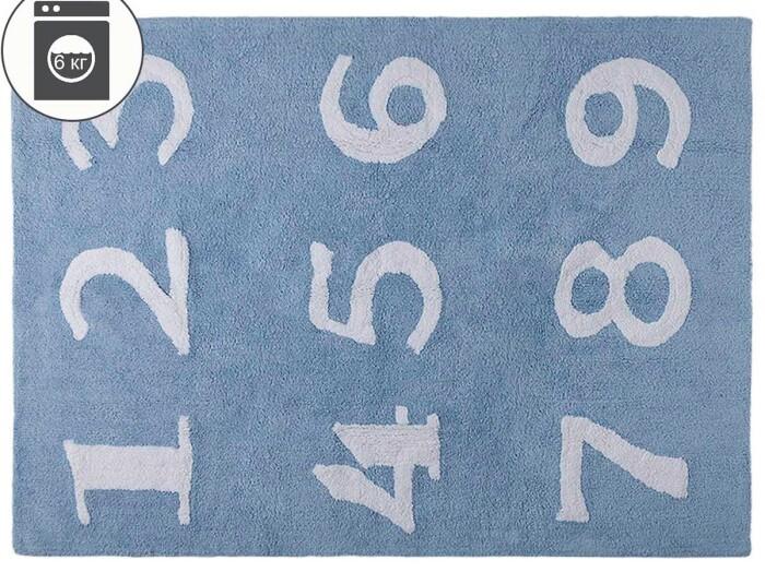 Детский стираемый ковер «Цифры» голубой. Состав 100% хлопок.  Производитель ТМ «Lorena Canals» , Испания